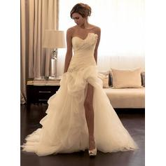 Sheath/Column Sweetheart Court Train Wedding Dresses With Ruffle Beading Sequins