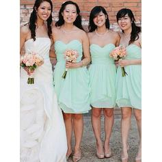 Sheath/Column Sweetheart Knee-Length Bridesmaid Dresses With Cascading Ruffles (007145015)