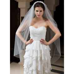 Waltz Bridal Veils Tulle Two-tier Classic With Cut Edge Wedding Veils