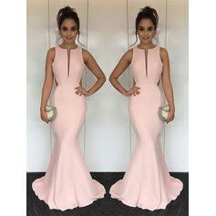 Trumpet/Mermaid Scoop Neck Sweep Train Prom Dresses With Ruffle