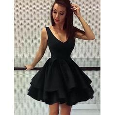 A-Line/Princess V-neck Short/Mini Homecoming Dresses With Cascading Ruffles (022216340)