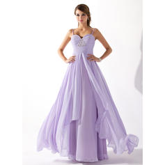 A-Line/Princess Sweetheart Floor-Length Prom Dresses With Ruffle Beading (018004835)