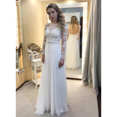 A-Line/Princess Chiffon Long Sleeves Scoop Floor-Length Wedding Dresses