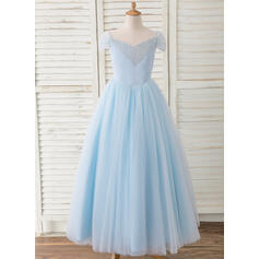 Ball-Gown/Princess Floor-length Flower Girl Dress - Satin/Tulle Sleeveless Off-the-Shoulder With Beading/Bow(s)