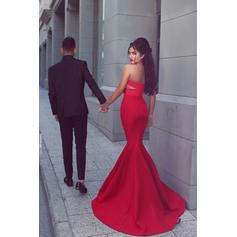 Trumpet/Mermaid Sweetheart Sweep Train Prom Dresses With Ruffle (018145974)