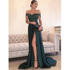 A-Line/Princess Off-the-Shoulder Sweep Train Evening Dresses With Lace