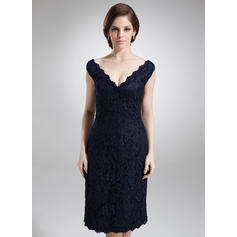 Sheath/Column Lace Sleeveless Off-the-Shoulder Knee-Length Zipper Up Mother of the Bride Dresses