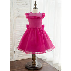 A-Line Knee-length Flower Girl Dress - Organza Sleeveless Scoop Neck With Bow(s)