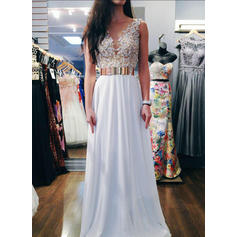 A-Line/Princess V-neck Floor-Length Chiffon Evening Dresses With Sash Beading Sequins