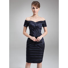 Sheath/Column Charmeuse Short Sleeves Off-the-Shoulder Knee-Length Zipper Up Mother of the Bride Dresses