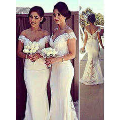 Trumpet/Mermaid Off-the-Shoulder Sweep Train Satin Bridesmaid Dresses
