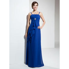 Empire Chiffon Bridesmaid Dresses Crystal Brooch Cascading Ruffles Sleeveless Floor-Length