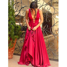 A-Line/Princess V-neck Sweep Train Charmeuse Evening Dresses
