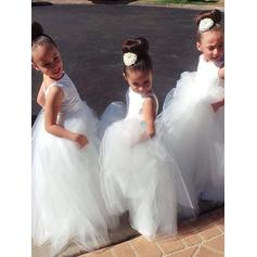 Ball Gown Scoop Neck Floor-length With Pleated Tulle Flower Girl Dresses