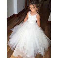 Gorgeous Scoop Neck Ball Gown Flower Girl Dresses Floor-length Tulle/Lace Sleeveless