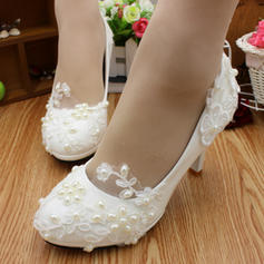 Women's Closed Toe Pumps Stiletto Heel Lace Leatherette With Imitation Pearl Applique Wedding Shoes