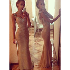 Trumpet/Mermaid Sweetheart Sweep Train Prom Dresses With Beading