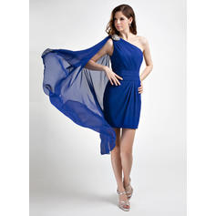 Sheath/Column One-Shoulder Short/Mini Chiffon Cocktail Dresses With Ruffle Beading