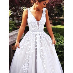 Ball-Gown V-neck Sweep Train Wedding Dresses With Beading Appliques Lace