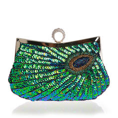 Clutches/Wristlets/Totes/Bridal Purse/Fashion Handbags/Makeup Bags/Luxury Clutches Wedding/Ceremony & Party/Casual & Shopping/Office & Career Sequin Magnetic Closure Elegant Clutches & Evening Bags