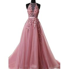 A-Line/Princess Halter Sweep Train Tulle Evening Dresses With Appliques Lace