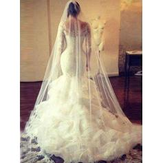 Trumpet/Mermaid Tulle Lace Long Sleeves Scoop Cathedral Train Wedding Dresses (002144827)