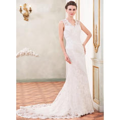 Trumpet/Mermaid Sweetheart Chapel Train Wedding Dresses With Beading Sequins