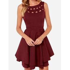 A-Line/Princess Scoop Neck Short/Mini Jersey Cocktail Dresses With Ruffle