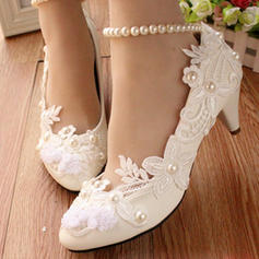 Women's Closed Toe Pumps Low Heel Leatherette With Imitation Pearl Stitching Lace Flower Lace-up Chain Wedding Shoes