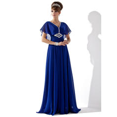 A-Line/Princess V-neck Floor-Length Evening Dresses With Ruffle Beading