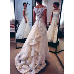 A-Line/Princess Lace Sleeveless Off-The-Shoulder Sweep Train Wedding Dresses
