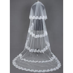 Chapel Bridal Veils Tulle Two-tier Drop Veil With Lace Applique Edge Wedding Veils