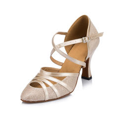 Women's Ballroom Heels Pumps Leatherette With Ankle Strap Dance Shoes