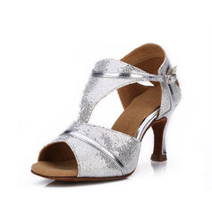 Women's Latin Heels Sandals Sparkling Glitter With Buckle Dance Shoes