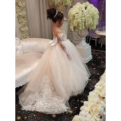 Ball Gown Scoop Neck Sweep Train With Bow(s) Tulle/Lace Flower Girl Dresses (010146757)