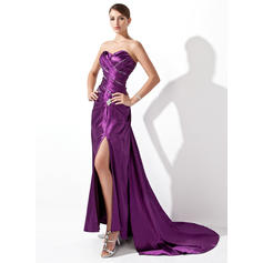 A-Line/Princess Sweetheart Court Train Evening Dresses With Ruffle Beading Split Front (017004174)