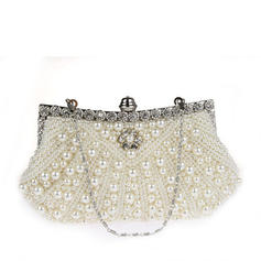Clutches/Wristlets/Totes/Bridal Purse/Fashion Handbags/Makeup Bags/Luxury Clutches Wedding/Ceremony & Party/Casual & Shopping/Office & Career Satin/Pearl Magnetic Closure Elegant Clutches & Evening Bags