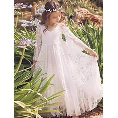Glamorous V-neck A-Line/Princess Flower Girl Dresses Ankle-length Lace Long Sleeves