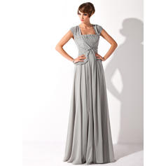 A-Line/Princess Chiffon Short Sleeves Square Neckline Floor-Length Zipper Up Mother of the Bride Dresses