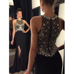 A-Line/Princess Scoop Neck Sweep Train Prom Dresses With Beading (018212212)