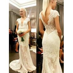 Sheath/Column Lace Short Sleeves V-neck Sweep Train Wedding Dresses (002147977)