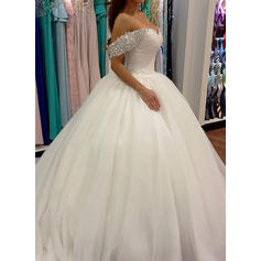 Ball-Gown Tulle Sleeveless Off-The-Shoulder Sweep Train Wedding Dresses (002148001)