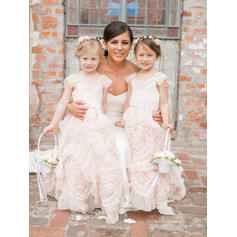A-Line/Princess Scoop Neck Floor-length With Ruffles Tulle Flower Girl Dresses (010145238)