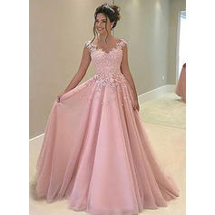 A-Line/Princess Sweetheart Floor-Length Prom Dresses With Appliques Lace