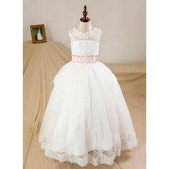 Ball Gown Scoop Neck Floor-length With Bow(s)/Back Hole Tulle/Lace Flower Girl Dresses