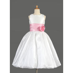 Beautiful Scoop Neck Empire Flower Girl Dresses Tea-length Taffeta/Charmeuse Sleeveless (010014637)