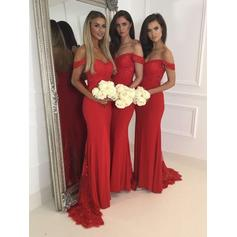 Trumpet/Mermaid Lace Jersey Bridesmaid Dresses Off-the-Shoulder Sleeveless Sweep Train