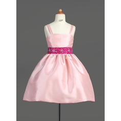 Luxurious Straps A-Line/Princess Flower Girl Dresses Knee-length Taffeta Sleeveless (010007565)
