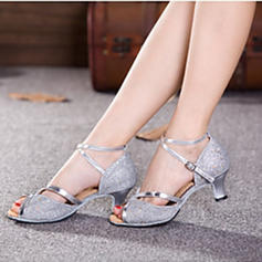 Women's Latin Heels Sandals Pumps Sparkling Glitter With Ankle Strap Hollow-out Sequin Dance Shoes
