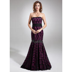 Trumpet/Mermaid Strapless Sweep Train Evening Dresses With Beading Bow(s) (017016745)